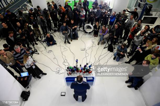 President of the Russian Olympic Committee Stanislav Pozdnyakov holds a press conference in Moscow on December 9, 2019. - Russia will miss next...
