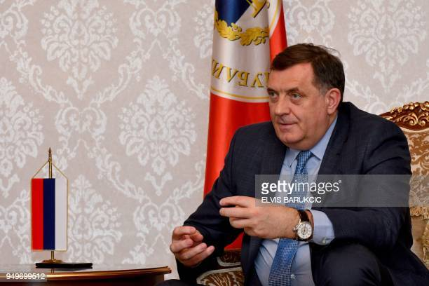 President of the Serbrun entity in Bosnia Bosnian Serb leader Milorad Dodik answers questions during an interview with AFP in Banja Luka on April 18...