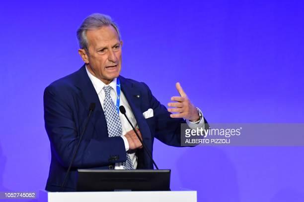 President of the Serie A the Italian football championship Gaetano Micciche delivers a speech during the elective assembly of the Italian Football...