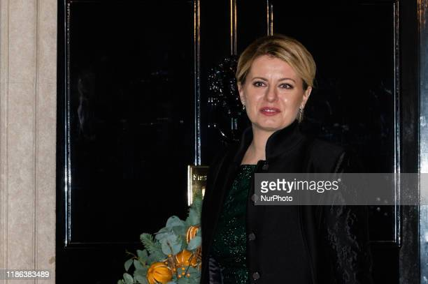 President of the Slovak Republic Zuzana Caputova arrives at 10 Downing Street to attend a reception for NATO leaders hosted by British Prime Minister...
