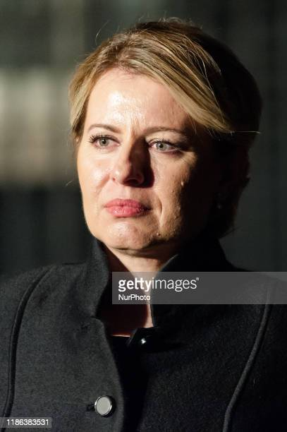 President of the Slovak Republic Zuzana Caputova leaves 10 Downing Street after attending reception for NATO leaders hosted by British Prime Minister...