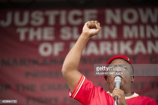President of the South African Economic Freedom Fighters party Julius Malema delivers a speech on August 16 in Marikana, during a ceremony in tribute...