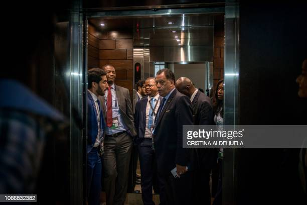 President of the South African Football Association Danny Jordaan is pictured in an elevator after an extraordinary meeting with CAF executives at...
