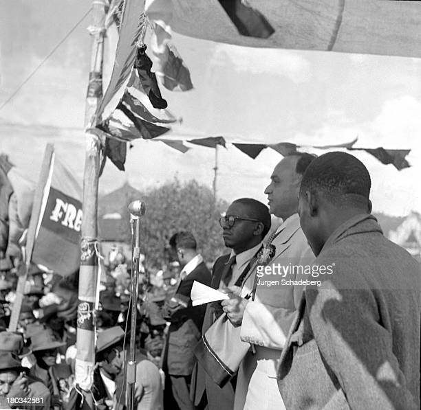 President of the South African Indian Congress Yusuf Dadoo speaking at a demonstration in Red Square in the Johannesburg suburb of Fordsburg South...