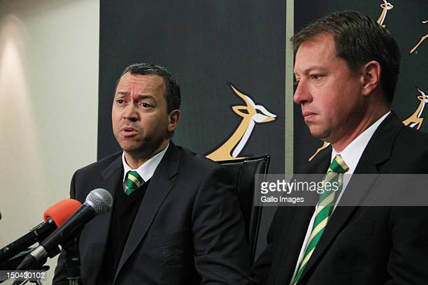 President of the South African Rugby Union Oregan Hoskins and Chief Executive of the SARU Jurie Roux attend a media briefing at Southern Sun Newlands...