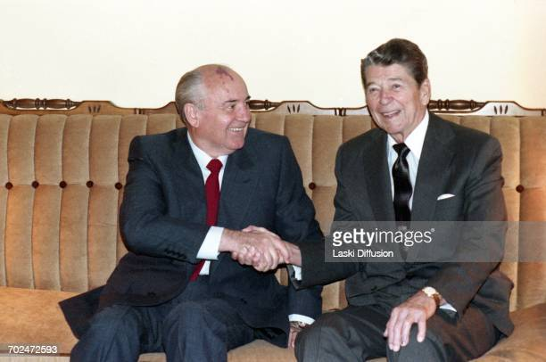 President of the Soviet Union Mikhail Gorbachev and US President Ronald Reagan during an informal meeting in San Francisco USA 4th June 1990