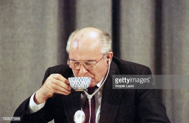 President of the Soviet Union Mikhail Gorbachev during a joint press conference with Prime Minister of Italy Giulio Andreotti in Moscow Russia on...