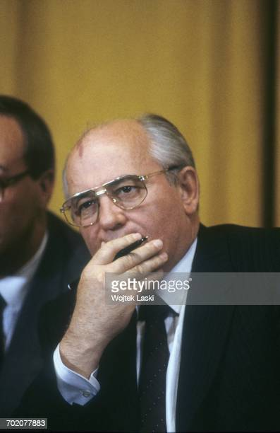 President of the Soviet Union Mikhail Gorbachev during a meeting with Italian Prime Minister Giulio Andreotti in Moscow, Russia, on 26th July 1990.