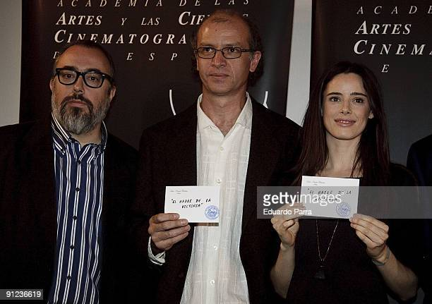 President of the Spanish Cinema Academy Alex de la iglesia director Juan Carlos Rulfo and actress Pilar Lopez de Ayala attend the unveiling of the...
