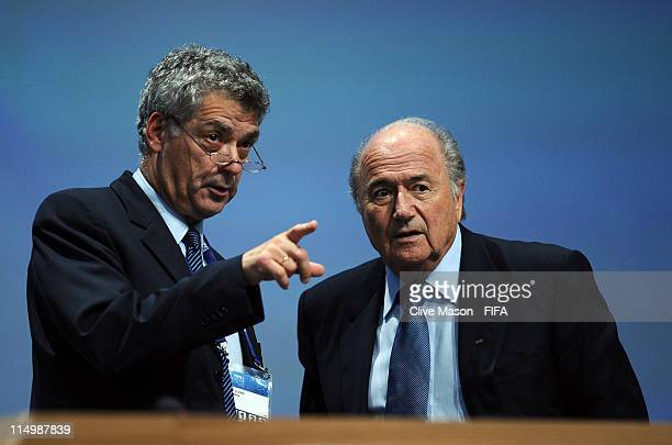 President of the Spanish Football Association Angel Maria Villar Llona talks with FIFA President Joseph S Blatter during the 61st FIFA Congress at...