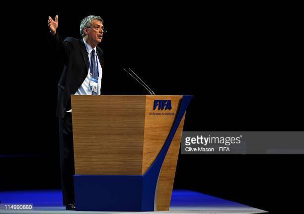 President of the Spanish Football Association, Angel Maria Villar Llona addresses the delegates during the 61st FIFA Congress at Hallenstadion on...