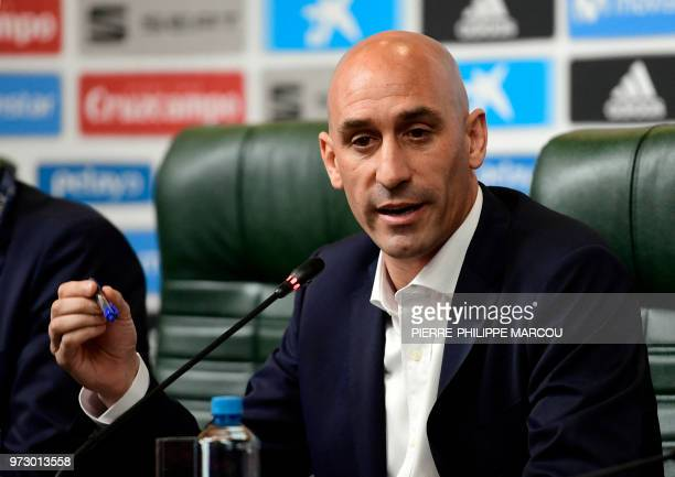 President of the Spanish Football Federation Luis Rubiales attends a press conference at Krasnodar Academy on June 13 ahead of the Russia 2018 World...