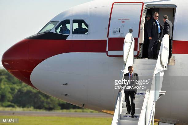 President of the Spanish Government Jose Luis Zapatero descends from his plane upon his arrival to El Salvador's international airport in Comalapa...