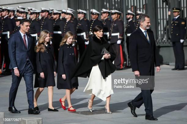 President of the Spanish Government Pedro Sanchez, King Felipe VI of Spain, Queen Letizia of Spain, Princess Leonor of Spain and Princess Sofia of...