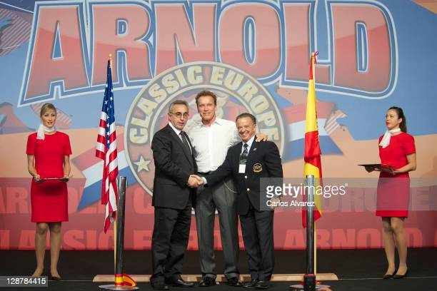 President of the Spanish Olympic Committee Alejandro Blanco actor and former California Governor Arnold Schwarzenegger and IFBB President Rafael...