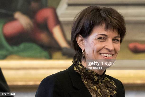 President of the Swiss Confederation Doris Leuthard meets with Pope Francis on May 6 2017 in Vatican City Vatican The Pontiff and the President held...
