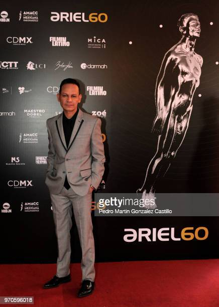 President of the The Mexican Academy of Film Arts and Sciences Ernesto Contreras and director of 'Dream in another language' poses during 60th Ariel...
