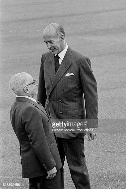 President of the Third Hellenic Republic Konstantinos Tsatsos is welcomed at the Orly airport by French President Valery Giscardd'Estaing