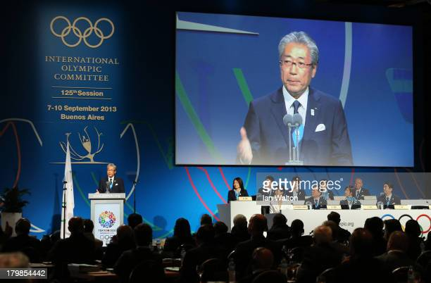 President of the Tokyo 2020 Committee Tsunekazu Takeda speaks during the Tokyo 2020 bid presentation during the 125th IOC Session 2020 Olympics Host...