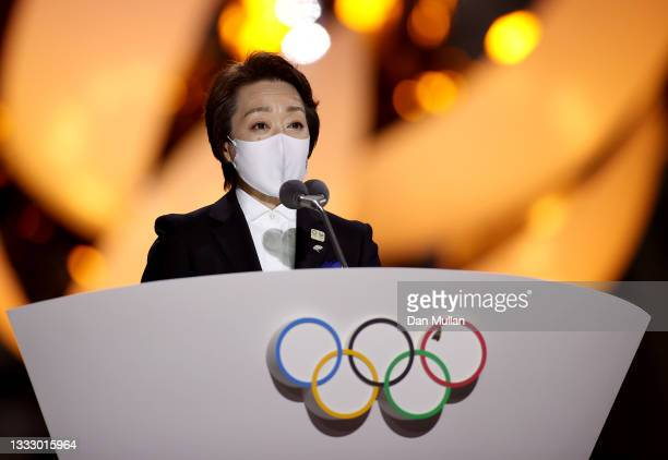 President of the Tokyo Organising Committee of the Olympic and Paralympic Games, Seiko Hashimoto speaks during the Closing Ceremony of the Tokyo 2020...