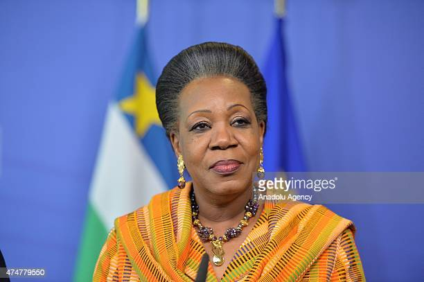 President of the Transition in the Central African Republic, Catherine Samba-Panza speaks during a press conference after International Conference on...