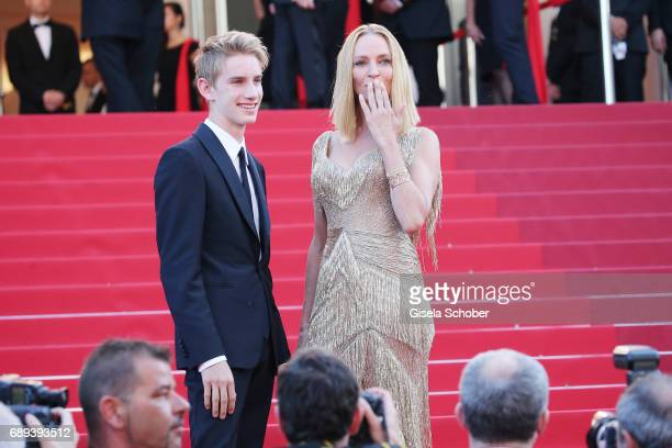 President of the Un Certain Regard jury Uma Thurman and her son Levon Roan ThurmanHawke attend the Closing Ceremony during the 70th annual Cannes...