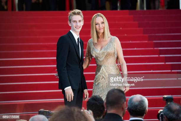 President of the Un Certain Regard jury Uma Thurman and her son Levon Roan ThurmanHawke attend the Closing Ceremony of the 70th annual Cannes Film...