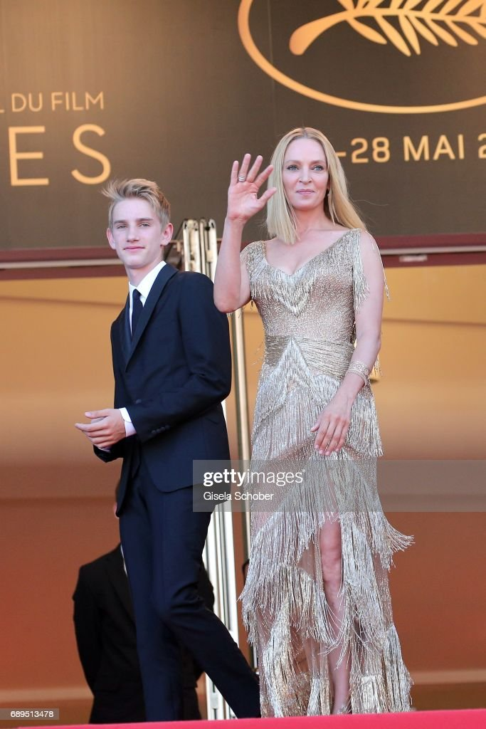 President of the Un Certain Regard jury Uma Thurman (R) and her son Levon Roan Thurman-Hawke attend the Closing Ceremony during the 70th annual Cannes Film Festival at Palais des Festivals on May 28, 2017 in Cannes, France.