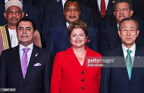 President of the UN General Assembly Nassir Abdulaziz AlNasser Brazil's President Dilma Rousseff waves next to UN Secretary General Ban KiMoon during...