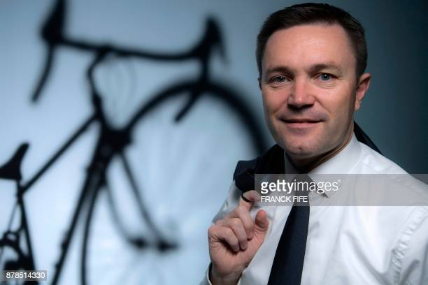 President of the Union Cycliste Internationale David Lappartient poses during a photo session on November 23 2017 in Paris FIFE
