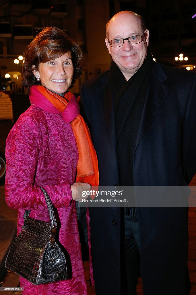 President of the Union of Antique Christian Deydier (R) and companion Sylvie Rousseau attend 'Un Temps De Chien' - Theater Gala Premiere to Benefit ARSEP Foundation. Held at Theatre Montparnasse on January 30, 2014 in Paris, France.