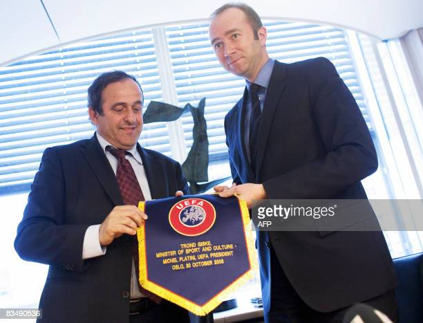 President of the Union of European Football Associations Michel Platini and Norwegian Minister of Culture and Church Affairs Trond Giske meet at...