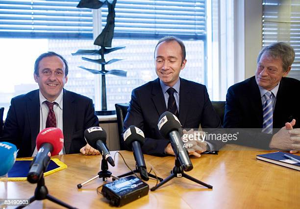 President of the Union of European Football Associations Michel Platini Norwegian Minister of Culture and Church Affairs Trond Giske and President of...