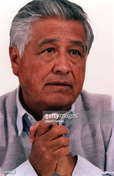 President of the United Farm Workers of America Cesar Chavez thinks about an interviewer''s question April 14 1993 during a visit to Dartmouth...