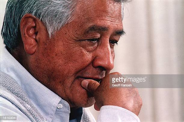 President of the United Farm Workers of America Cesar Chavez thinks about an interviewer's question April 14 1993 during a visit to Dartmouth College...