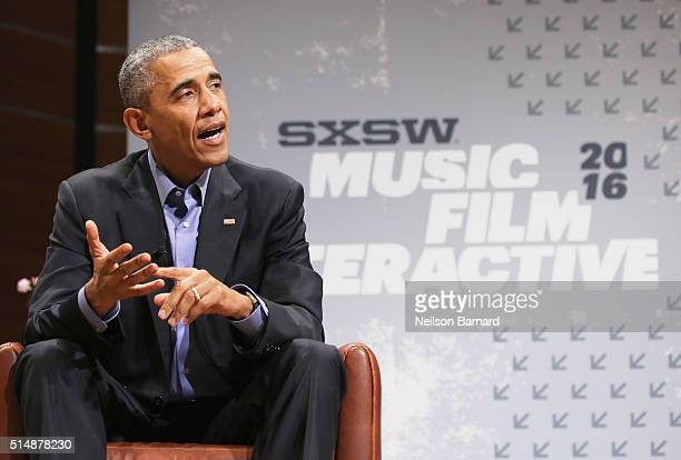 President of the United States Barack Obama speaks during the 2016 SXSW Music Film Interactive Festival at Long Center on March 11 2016 in Austin...