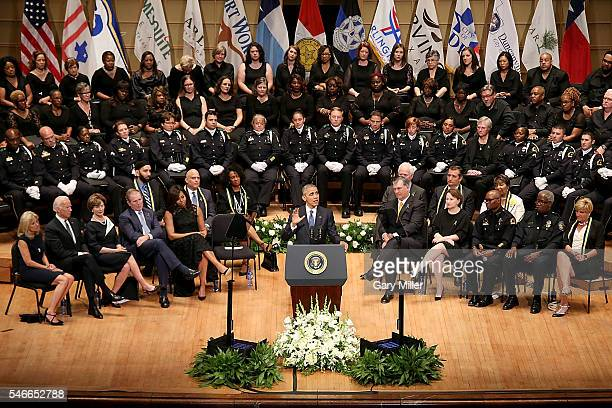 President of the United States Barack Obama speaks during the Interfaith Memorial honoring the Dallas shooting victims at The Morton H Meyerson...