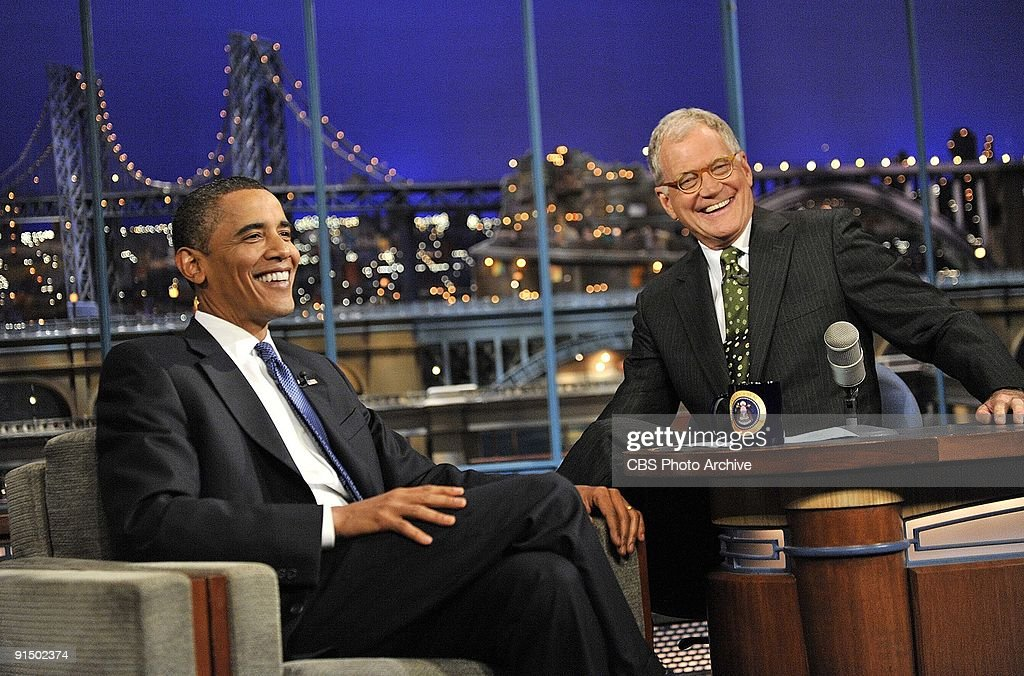 President of the United States Barack Obama talks to Dave when he visits the Late Show with David Letterman, on Monday, September 21, 2009 on the CBS Television Network.