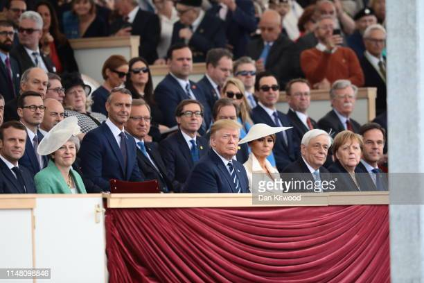 President of the United States Donald Trump and First Lady of the United States Melania Trump sit next to British Prime minister Theresa May...
