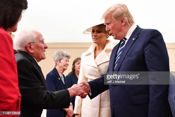 President of the United States Donald Trump and First Lady of the United States Melania Trump meet veterans during the Dday 75 Commemorations on June...