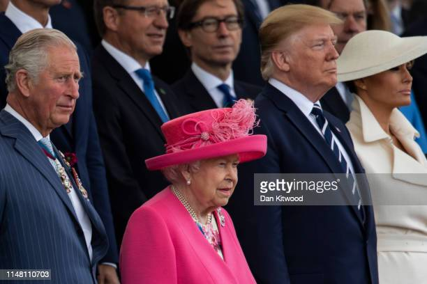 President of the United States Donald Trump and First Lady of the United States Melania Trump stand next to Prince Charles Prince of Wales and Queen...