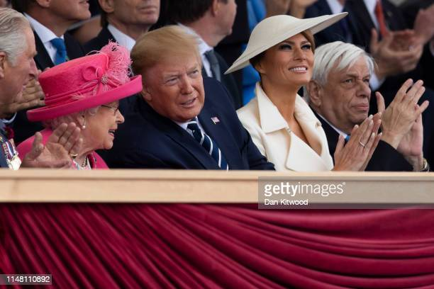 President of the United States Donald Trump and First Lady of the United States Melania Trump sit next to Prince Charles Prince of Wales Queen...