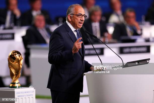 President of the United States Football Association Carlos Cordeiro speaks during the United 2026 presentation to become the host for the 2026 FIFA...