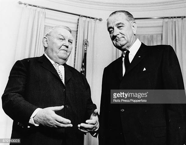 President of the United States Lyndon B Johnson and German Chancellor Ludwig Erhard pictured together at a meeting to discuss the funding of European...