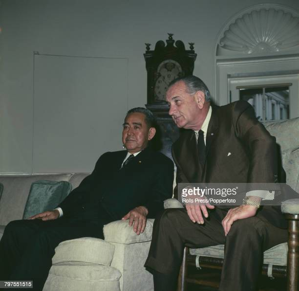 President of the United States Lyndon B Johnson pictured right with Prime Minister of Japan Eisaku Sato as they meet for talks at the White House in...