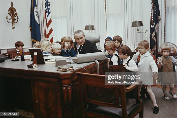 lbj oval office. President Of The United States Lyndon B Johnson Pictured Sitting At Desk As He Lbj Oval Office L