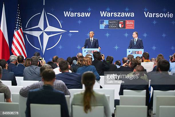 President of the United States of America Barack Obama and President of Poland Andrzej Duda speak during press conference during the NATO Warsaw...