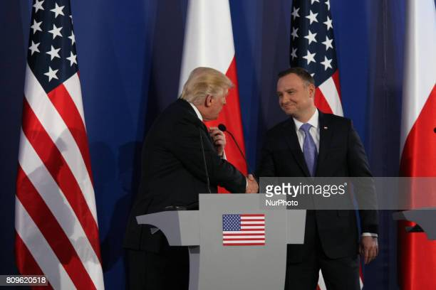 President of the United States of of America Donald Trump is seen on 6 July 2017 in Warsaw Poland Donald Trump arrived Poland before the G20 Summit...