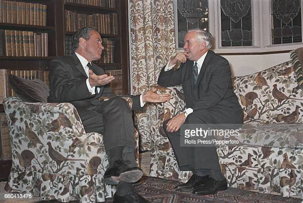 President of the United States, Richard Nixon conducts informal talks with Harold Wilson , Prime Minister of the United Kingdom in armchairs at...