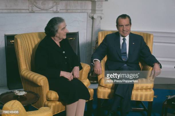 President of the United States Richard Nixon pictured on right with Prime Minister of Israel Golda Meir during a summit meeting and talks in...